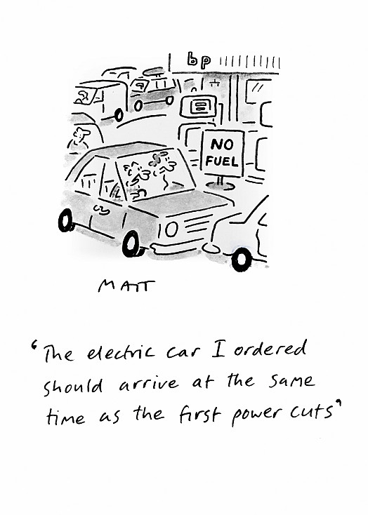 The electric car I ordered should arrive at the same time as the first power cuts