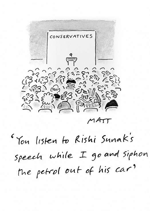 You listen to Rishi Sunak's speech while I go and siphon the petrol out of his car