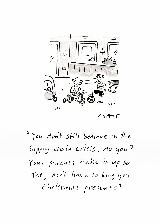 You don't still believe in the supply chain crisis, do you? Your parents make it up so they don't have to buy you Christmas presents