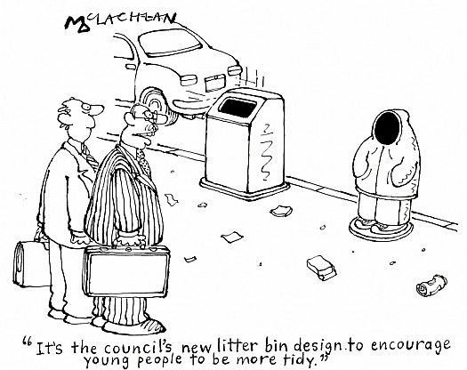 It's the Council's New Litter Bin Design to Encourage Young People to Be More Tidy