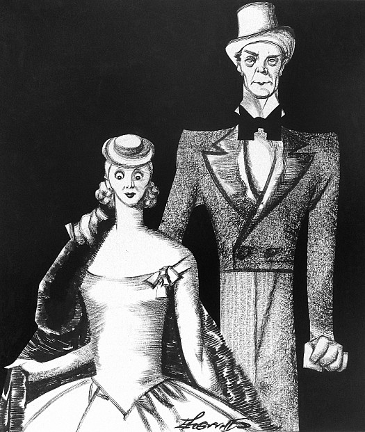 "'""Happy Family, 1860"", After F Cadogan Cooper Ra,' Is the Title Our Caricaturist Bestows On this Drawing of Miss June Clyde and Mr Jack Buchanan as Marie-Louise and Papa-Rene' In 'the Flying Trapeze'"