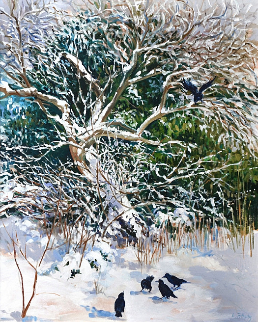 Artist's Garden. Rooks and a Green Gage Tree
