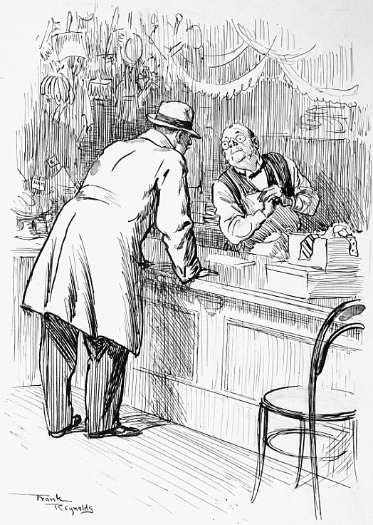 Customer (Who Has Lost His Luggage, to  Village Shopman). 'Can I Buy a Dress-Shirt Here?'Shopman. 'I'm Sorry, Sir, but I Haven't Such a Thing In the Place. You See, the Season's over For Them Now.'