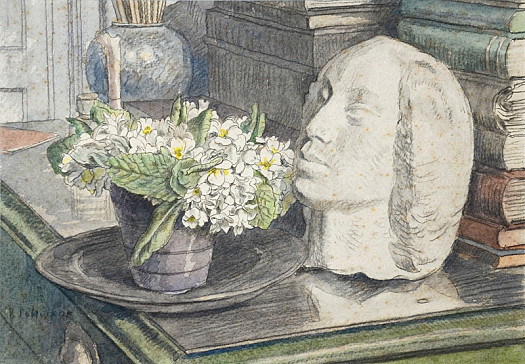 Still Life with Flowers and a Bust