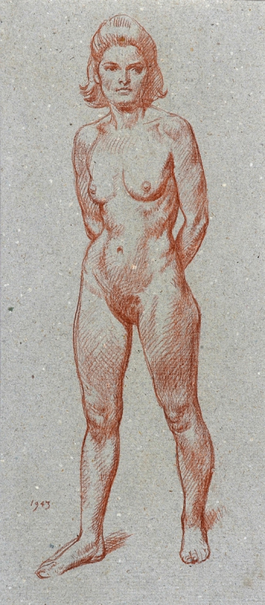Female Nude Standing with Arms Behind Her Back
