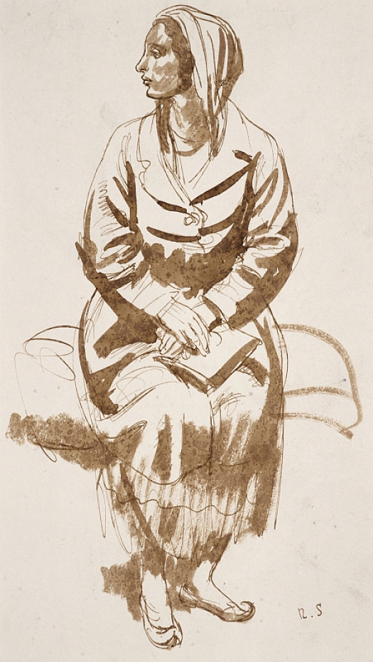 Seated Woman In a Cowl