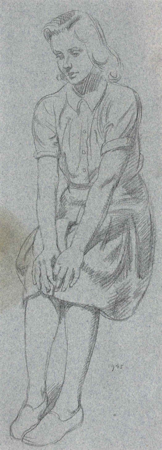 Seated Girl with Hands On Her Knees