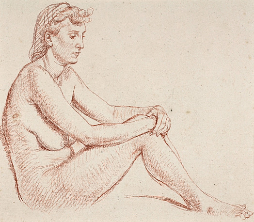 Seated Nude with Hands On Knees