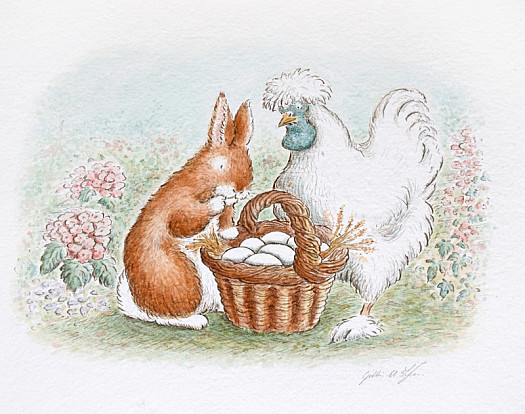 'Take Some of My Eggs,' Suggested Feather. 'There's a Basket Full of Them under the Tree. just Look How Perfectly White and Smooth They Are,' She Added Proudly
