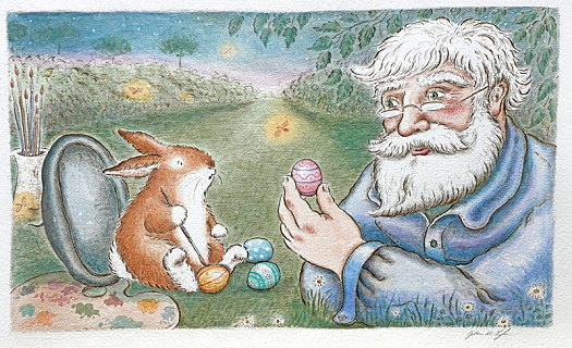 'Painting eggs … What a lovely idea,' said the kind old man. He picked them up one by one and looked at them closely