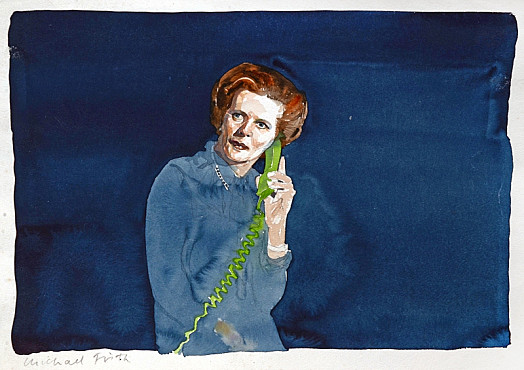 Margaret Thatcher On the Green Telephone