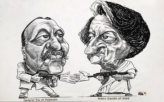 General Zia of Pakistan and Indira Gandhi of India