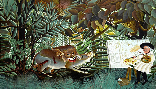 For weeks he fills in his jungle, tenderly shaping every fern, every frond, every blade and leaf