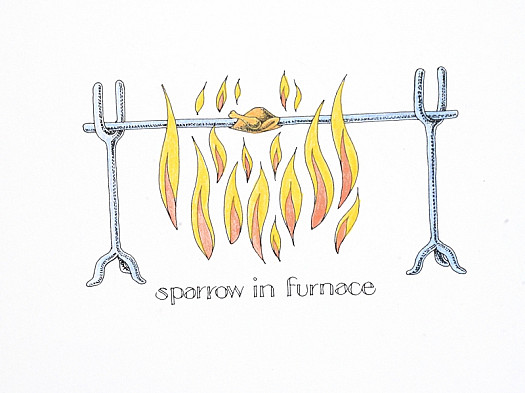 Sparrow In Furnace