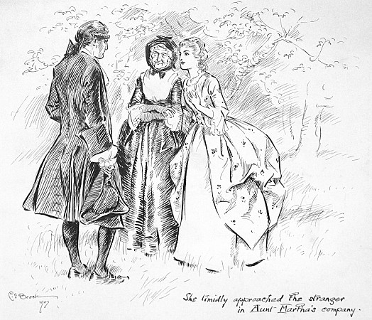 She Timidly Approached the Stranger In Aunt Martha's Company