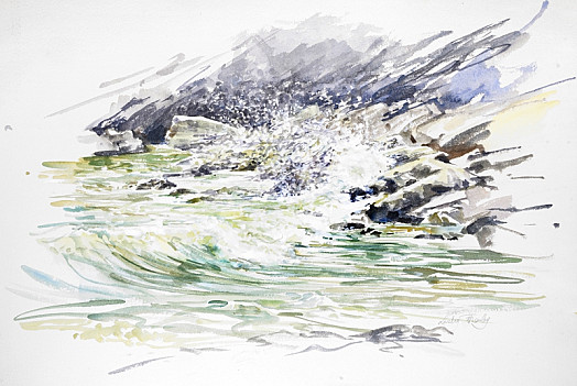 Breaking Waves. sugary Cove, Devon