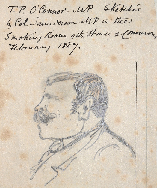 T P O'Connor MP, sketched by Col Saunderson MP in the Smoking Room of the House of Commons