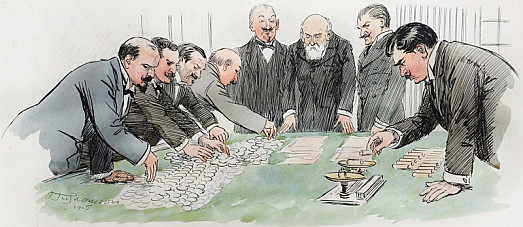 Croupiers Counting and Checking the Money under the Eyes of the Officials
