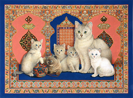 Catkin and Her Kittens with Arabic Textile Wall Covering
