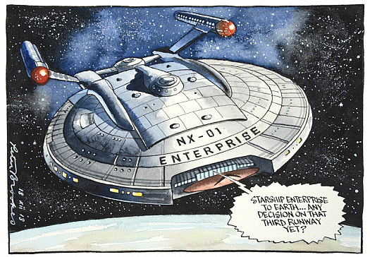 Starship Enterprise to Earth... Any Decision On That Third Runway Yet?