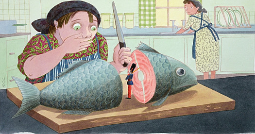 The Fish Had Been Caught, Taken Home and Cut Open In a Kitchen