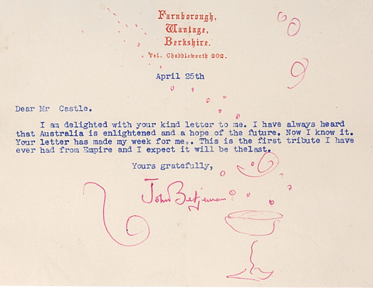 Letter to Mr Castle from John Betjeman