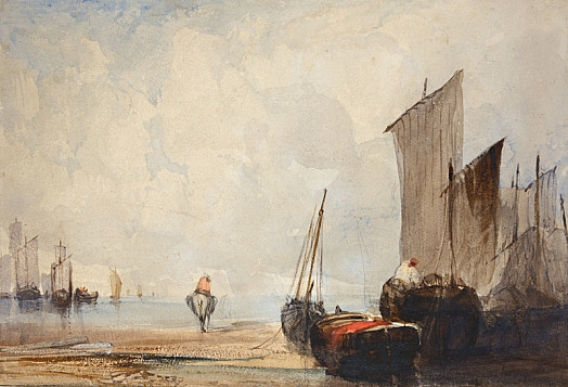 A Coastal Scene with Beached Fishing Boats and a Barge