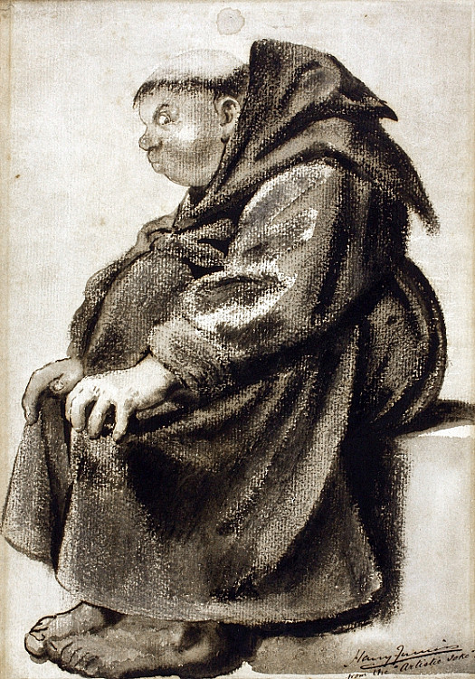 And then the Monk, His Fair Round Belly with Good Pasty Lined, with Eyes A-Twinkle, Chin of Cosy Cut; of Him Good Marks Marks Many Instances, and Well He Plays His Part
